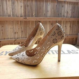 Size 6 nude heels laser cut